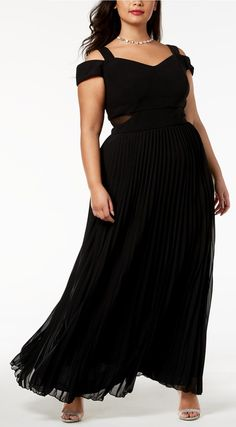Plus Size Cold-Shoulder Pleated Gown