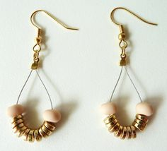 beaded drop earrings #handmade #earrings #gold #pink #nude #hanging #ammjewelry