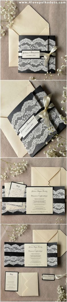 Black Romantic Lace Wedding Invitations #elegant #romantic #black #blackwedding #weddingideas #dpf