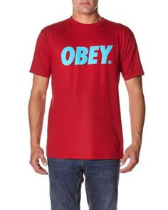 Obey font red cyan tee mens #casual skate #shirt #australia skateboard clearance,  View more on the LINK: http://www.zeppy.io/product/gb/2/222086040437/