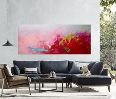 f9a85f38c94d80 Large abstract painting abstract art on canvas Pink red painting Extra  large art original painting o