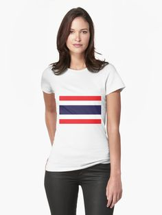 Flag Of Thailand. • Millions of unique designs by independent artists. Find your thing. Chris Evans, Summer Decoration, Unisex, Mode Geek, Vintage T-shirts, Map Art, Portrait, Tshirt Colors, Chiffon Tops