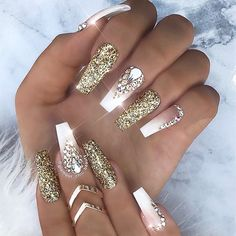 "2,704 Likes, 15 Comments - TheGlitterNail Get inspired! (@theglitternail) on Instagram: ""✨ REPOST - - • - - Gold Glitter, French Ombre and Crystals on Coffin Nails ✨ - - • - - Picture…"""