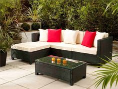 Black Barcelona Modular Sofa Set - a stylish modular sofa set that can be rearranged to suit the space available so you can relax and enjoy the sun in your own way - Garden ideas 2015 - by Living It Up