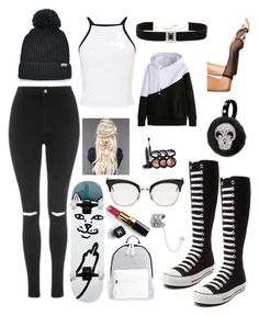 """""""Converse"""" by tatiana-m-evans ❤ liked on Polyvore featuring Converse, Topshop, Miss Selfridge, Kenneth Jay Lane, Thom Browne, Poverty Flats, Journee Collection, Laura Geller and Chanel"""