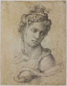 Michelangelo, Cleopatra (detail), no date, black chalk. Casa Buonarroti, inv. 2 F, Florence (y)