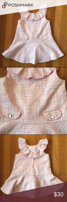 Janie and Jack dress Pink tweed Chanel style dress with ruffle collar.  NWOT.  Perfect for Easter or a birthday party! Janie and Jack Dresses