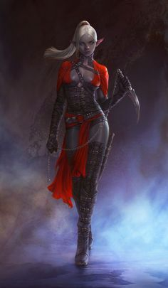 Dark Elf Assassin Picture  (2d, fantasy, illustration, dark elf, assassin, girl, woman)