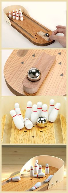 Mini Wooden Tabletop Bowling Game. Every bowling enthusiast's table top needs one.