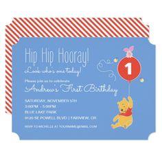 Boy's 1st Birthday Party Winnie the Pooh | Baby Boy - First Birthday Card