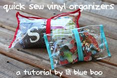 Small vinyl bags that can hold anything, loop of elastic goes around bag and holds it closed.