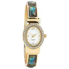New Navarre Womens Ladies Quartz Watch Gold Tone with Pearl Inlays Faux Diamonds $29.50