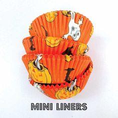 75 Halloween Mini Cupcake Liners: Mini Muffin Paper Baking Cups Orange Pumpkins Bats Cake Cups Halloween Dessert