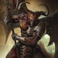 Gora, the king of darkness Fantasy Demon, Fantasy Races, Fantasy Monster, High Fantasy, Fantasy Warrior, Dark Fantasy Art, Medieval Fantasy, Fantasy Artwork, Dark Art
