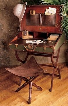 British Colonial Campaign Furniture: Topee hat, campaign desk and stool. - British Colonial Campaign Furniture: Topee hat, campaign desk and stool. British Colonial Decor, British Decor, Campaign Furniture, Campaign Desk, Vintage Suitcases, Vintage Luggage, Vintage Travel, Vintage Suitcase Decor, Vintage Market