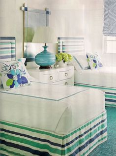 Quadrille stripe bed skirt and headboard