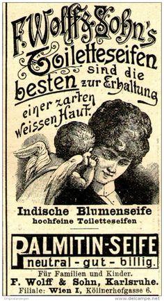 Original-Werbung/ Anzeige 1897 - SEIFEN / WOLFF & SOHN - KARLSRUHE - ca. 45 x 80 mm