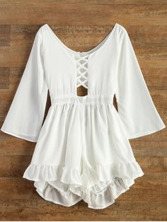 Ruffled Cut Out Lace-Up Romper - WHITE XL