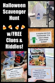 Free printable clues and riddles for this fun Halloween Scavenger Hunt for kids, tweens, teens and even adults! Halloween Scavenger Hunt, Scavenger Hunt For Kids, Fun Indoor Activities, Creative Activities For Kids, Halloween Cans, Halloween Treats, Things To Do At Home, Easy Science Experiments, Diy Halloween Decorations