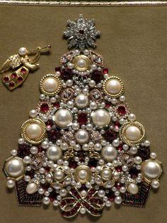 Vintage Jewelry Christmas Tree - Pearls & Reds Trumpeting Angel: