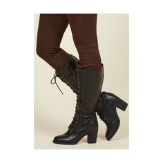 Minimal Picking Up Steampunk Boot (220 BRL) ❤ liked on Polyvore featuring shoes, boots, black, boot - bootie, heeled boot, knee high boots, black lace up boots, black knee boots, lace up boots and black boots