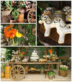 From LaLune-Festas Especiais via Kara's Party Ideas: Horse Themed Birthday – Is there an equestrian lover in your family? This party features horses and more horses in rustic shades of brown, orange and natural greens. Cowboy Theme Party, Horse Party, Horse Birthday Parties, Birthday Party Themes, Farm Party Foods, Kids Party Themes, Party Ideas, Fun Ideas, Western Parties