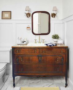 Bathroom Inspiration: Using a Dresser as a Vanity - Looking for bathroom renovation inspiration? I've rounded up my favorite DIY bathroom vanities from old furniture! Turn a dresser to a vanity! Bathroom Renos, Budget Bathroom, Bathroom Furniture, Bathroom Ideas, Bathroom Remodeling, Dresser Vanity Bathroom, Bathroom Cabinets, Bathroom Organization, Bathroom Storage