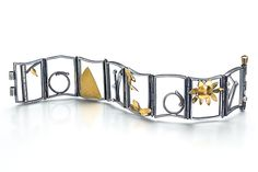 Small Hinged Bracelet 7 by Lori Gottlieb: Gold, Silver, & Stone Bracelet available at www.artfulhome.com