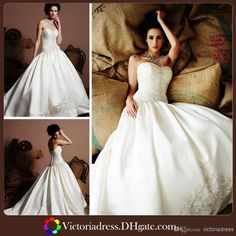 Wholesale Ball Gown Wedding Dresses - Buy Romantic Ball Gown Wedding Dresses Sweetheart Ruched Appliques Ivory Bridal Gowns Covered-button Chapel Train Custom Made Vestidos Gown, $141.37 | DHgate.com