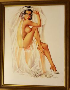 """Alberto Vargas Pin Up Print Framed """"Give Away the Bride"""" 8"""" x 10"""" by SweetbriarTreasures on Etsy"""