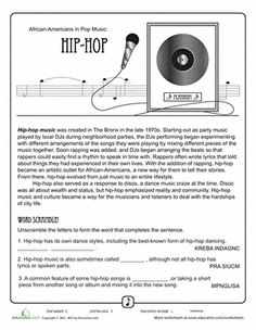 Fourth Grade Holidays & Seasons Worksheets: History of Hip Hop Music