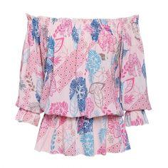 New Fashion Women Off-shoulder 3/4 Sleeve Tops Strapless Print Elastic Waist Slim Casual Chiffon Blouse