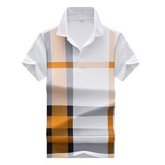 thin models Men's plaid hit color polo shirts casual men's short-sleeved lapel polo shirt Men polos