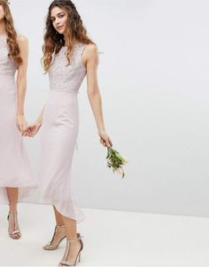 $109.70 Dress by TFNC, For ultimate squad goals, Lace overlay to top, Cute, right?, Round neck, Sleeveless style, Lace-up back, Not just for shoes, Zip-back fastening, Regular fit - true to size. London label TFNC is renowned for its standout occasionwear. Step it up in sparkly fabrics, embellished styles and party-prepped bodycon dresses - just don't outshine the bride. #Affiliate