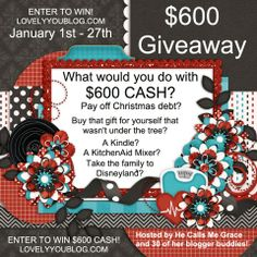 What could you do with $600! Enter to win on the blog http://www.lovelyyoublog.com/2014/01/01/600-cash-giveaway/