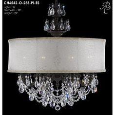 ABC Lighting Llydia 8-Light Drum Chandelier Crystal: Precision Crystal Oval Clear, Finish: Empire Bronze, Shade Color: Black Hardback