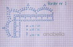 Anabelia craft design: Two free crochet borders Crochet Border Patterns, Crochet Boarders, Crochet Motifs, Crochet Diagram, Crochet Chart, Crochet Trim, Filet Crochet, Easy Crochet, Crochet Lace