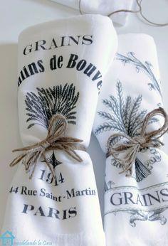 Flour sack towels w/ image transfer. Remodelando la Casa: Last Minute Present