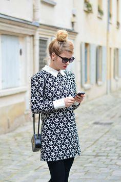 style, fashion, smart dress, simple, up do, hairstyle, bun, pattern dress, collar, sunglasses