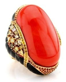 Wendy Yue - Coral and Sapphire Ring