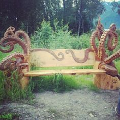 """the-great-white-north: """" The people here carve the coolest shit. #octopus #bench (Taken with Instagram) """""""