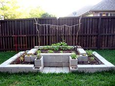garden ideas, raised gardens, raised bed gardens, rais bed, cement block
