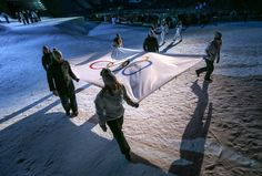 The Olympic Flag is borne by young Norwegian athletes taking part in the Youth Olympic Games:  at the Lysgårdsbakkene Ski Jumping Arena during the Opening Ceremony of the Lillehammer 2016 Winter Youth Olympic Games  Lillehammer Norway @lillehammer2016 #iLoveYOG @olympics