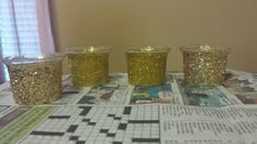 Glittered votive candle holders