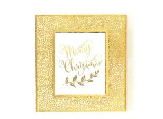 Gold Print, Gold Foil Print, Merry Christmas Art, Holiday Art, Bedroom Wall Art, Typography Poster, Christmas Decor
