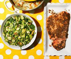 Maple-Mustard Salmon with Brussels Sprout Salad #recipe