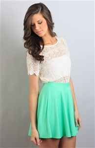 mint green skirt with lace top