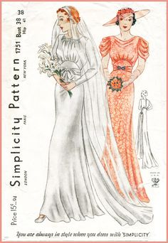 30s per cucire 1930s abito vintage modello di LadyMarloweStudios