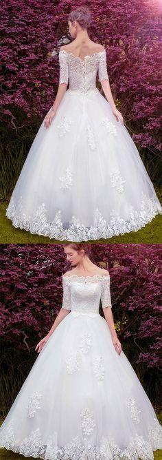 A-line Off-Shoulder Floor-Length Tulle Lace Appliqued Wedding Dresses ASD27012 #weddingdress #lace #princess #romantic