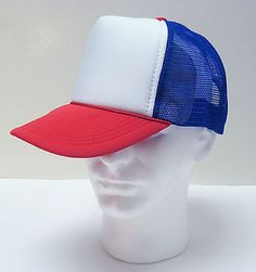 STRANGER-THINGS-Red-White-Blue-HAT-Dustin-retro-Trucker-Cap-80s-ADJUSTABLE